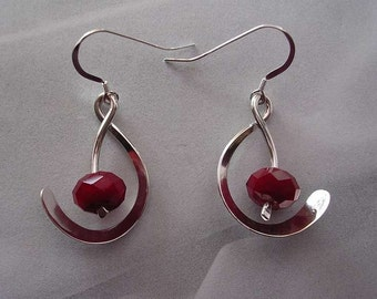 Ruby Quartz and Sterling Silver Golden Mean Earrings