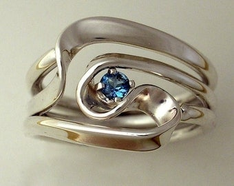 Hand Forged 3 Turn Vortex Ring™ with Blue Topaz