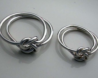 Set of 2  Love Knot Rings-1 in 14 gauge and 1 in 12 gauge