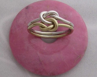 Solid 14K Yellow Gold and Sterling Silver Celtic Double Love Knot Ring