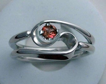Tesla Inspired Hand Forged 2 Turn Vortex Energy Ring™ with Garnet