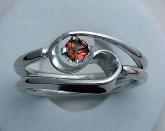 Hand Forged 2 Turn Vortex Ring™ with Garnet