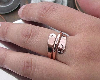 Copper Ring - Energy Ring With Moon And Star Stamps