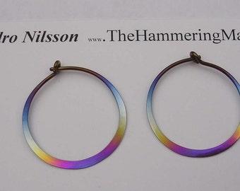 Niobium Earrings Rainbow Colored 1 Inch Hoops