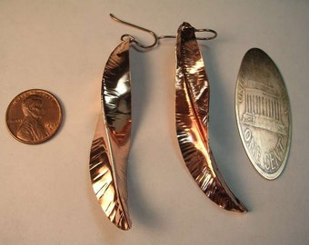 Copper penny earrings in Various Length Options