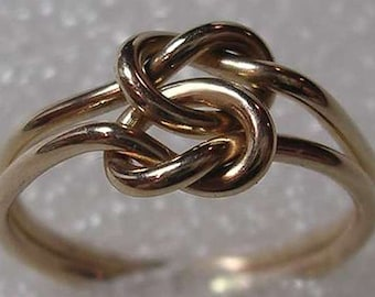 16 Gauge Double Love Knot Ring in 14K yellow gold