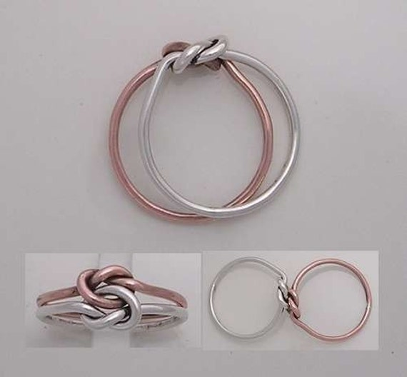 pure copper and sterling silver celtic love knot ring. Black Bedroom Furniture Sets. Home Design Ideas