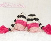 Santa Baby Hat in Pink\/Black\/White - Custom Newborn Photography Prop - Girl