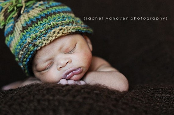 Funky Fall Baby Hat in Blue\/Green\/Brown\/Tan - Custom Newborn Photography Prop - Boy