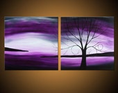 Twilight Dreaming -- Custom Painting -- Purple Tree Landscape on Two Stretched Canvases