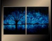 Past Midnight - Original Fine Art - Blue Tree Landscape Painting