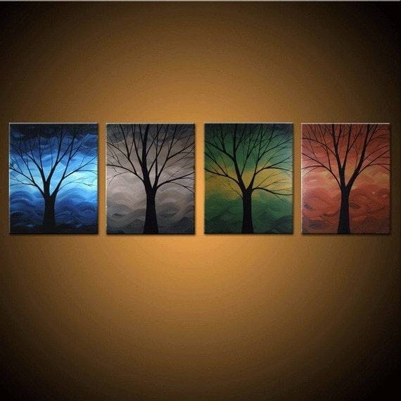 Items similar to winter spring summer fall custom for Spring canvas paintings