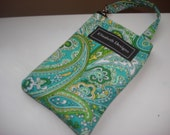 Lizzy gadget holder in green/blue paisly for ipod touch,iphone,flip camera