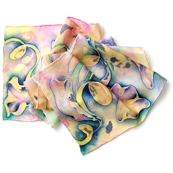 Multi-Color Leaves Hand Painted Silk Scarf
