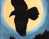 Moon Raven - Original Art 12 x 9