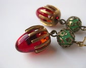 Vintage Glass and Brass Tail Light Earrings