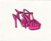 YSL Tribute Sandals fashion illustration linocut block print