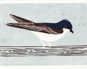 HOUSE MARTIN - Original Hand-Pulled Linocut Illustration Art Block Print 5 x 7, Blue, Bird, Room Decor