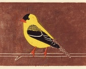 AMERICAN GOLDFINCH - Original Hand-Pulled Linocut Wood Block Art Oil Paint Print, Yellow, Brown, Black, 5 x 7