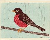 AMERICAN ROBIN - Original Hand-Pulled Linocut Block Art Print 5 x 7, Red, Brown, Nature, Yellow