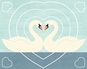 SWAN LOVE Charley Harper Inspired Illustration Art Print: 8 x 10, 9 x 12, 11 x 14, 12 x 16