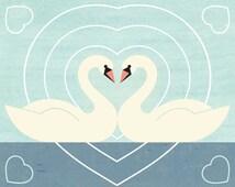 SWAN LOVE Charley Harper Inspired Illustration Art Print: 4 x 6, 5 x 7