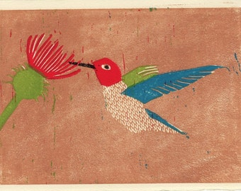 ANNA'S HUMMINGBIRD - Original Linocut Illustration Wall Decor Art Print 5 x 7, Red, Blue, Green, Wall Decor