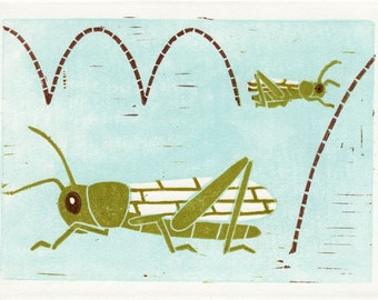 GRASSHOPPERS - Original Linocut Hand Pulled Block Art Print 5 x 7, Green, Insects, Nature