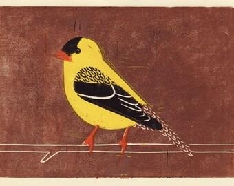 AMERICAN GOLDFINCH - Original Hand-Pulled Linocut Wood Block Art Oil Paint Print, Yellow, Brown, Black, 5 x 7