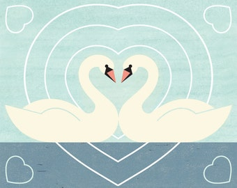 SWAN LOVE Charley Harper Inspired Illustration Art Print: 4 x 6, 5 x 7