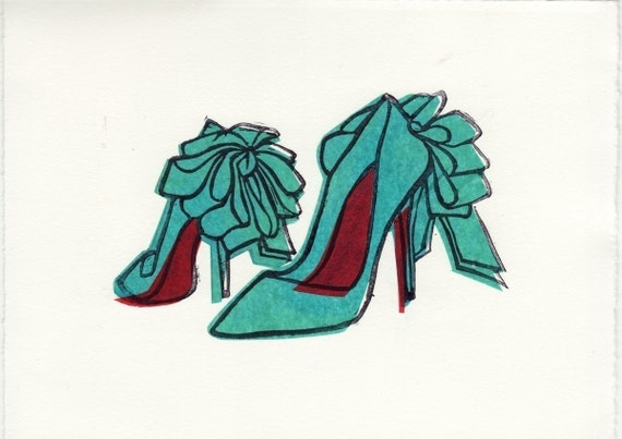 Christian Louboutin Anemone Bow shoes linocut block print