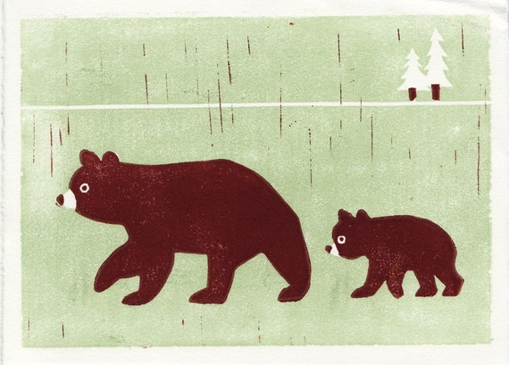 BEARS - Original Hand-Pulled Linocut Art Block Print 5 x 7, Brown, Forest, Trees, Mother And Child