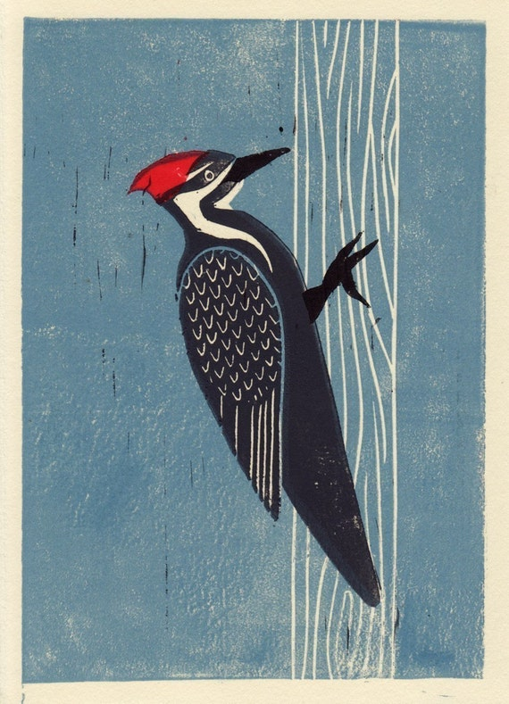 PILEATED WOODPECKER - Original Hand-Pulled Linocut Art Print 5 x 7, Blue, Red, Trees, Forest, Nature