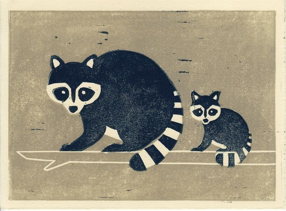 RACCOONS - Original Hand-Pulled Illustration Linocut Block Print 5 x 7, Wall Room Decor, Mother And Baby