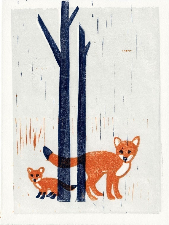 FOXES - Original Linocut Hand-Pulled Art Illustration Block Print 5 x 7 Woodland, Forest, Wall Art
