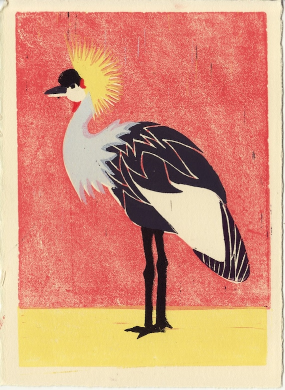 AFRICAN CROWNED CRANE - Original Hand-Pulled Linocut Bird Art Print 5 x 7 For Wall Decor,Tropical, Red, Yellow, Gray, Black