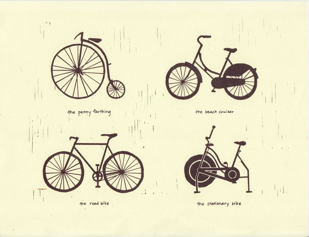 BIKE TYPES Art Illustration 8.5 x 11 Signed Archival by ...