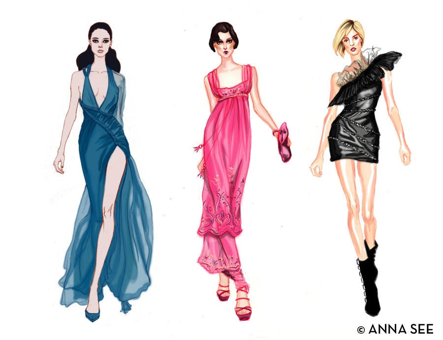 Runway Divas Fashion Illustration Print 85 x 11 - Fashion Dress Sketches Black And White