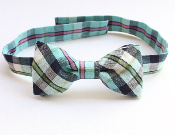 Infant Toddler Or Childs Bow Tie Plaid Blue Navy Green