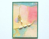 Original ACEO Mixed Media  Abstract with Fresh Water Pearls