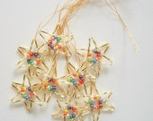 Beaded Ornaments Golden Stars Hand Beaded 8 pieces