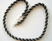 Spiral Beadwoven Necklace Black and Silver Seed Beads