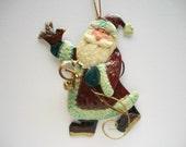 Christmas Ornament Tin Santa Wall Hanging Hand Painted Vintage