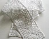 White Crochet Lace or Entre Deux Spider Web Pattern Handmade CottenTrim Needlecraft Supply Heirloom Quality