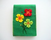 Green Needle Case Felt Needle Book with Hand Embroidered Felt Flowers Handsewn