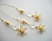 Crystal Ornaments with Vintage Genuine Crystals Beaded Stars and Goldplated Filigree Beads