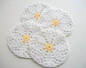 Four Crochet Coasters or Little Doilies White Cotton Flower Motif