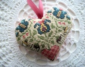 Folk Art Heart Wall Hanging One of a Kind Pincushion Home Decoration Hand Embroidered Hand Sewn