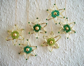 Golden Star Ornaments Tree Hangings Hand Beaded Ornaments 6 pcs