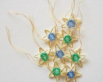 Golden Stars Beaded Ornaments Hand Beaded Holiday Hangings 8 pcs